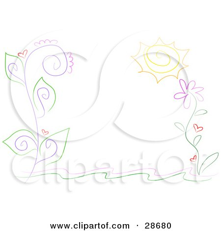 Clipart Illustration of a Stationery Border Of Curling Vines With Purple Stalks, Green Leaves, Red Hearts And A Big Yellow Flower by bpearth