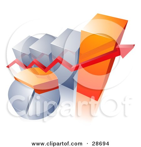 Clipart Illustration of a Red Arrow Over An Orange And Silver Pie Chart And In Front Of A Bar Graph by beboy