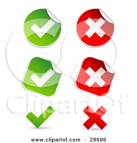 Set Of Peeling Square And Circle Green And Red Check Mark And X Mark Stickers Posters, Art Prints
