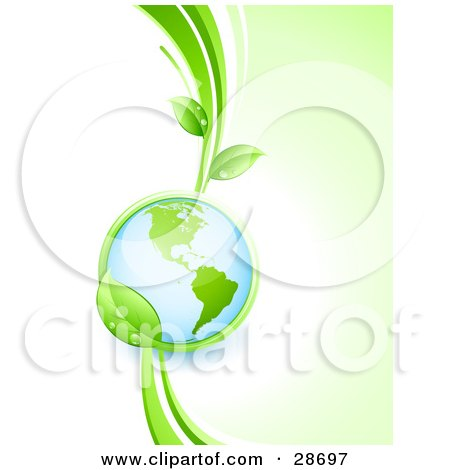 Clipart Illustration of a Shiny Globe In The Grasp Of A Lush Green Leafy Vine by beboy