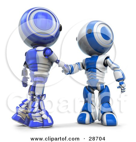 Clipart Illustration of Blue AO-Maru Robots Shaking Hands On A Business Deal by Leo Blanchette
