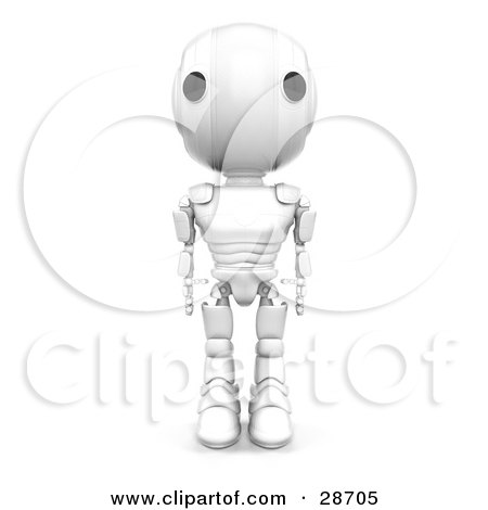 Clipart Illustration of a White AO-Maru Robot Standing Tall With His Arms At His Side, Facing Front by Leo Blanchette