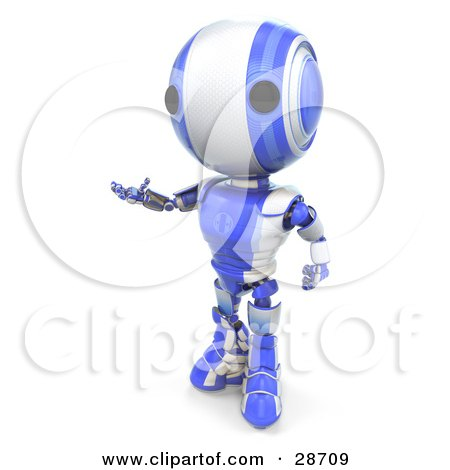 Clipart Illustration of a Blue AO-Maru Robot Standing And Gesturing With His Hands by Leo Blanchette