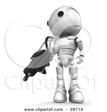 Clipart Illustration of a White AO-Maru Robot Defending Territory With A Big Machine Gun by Leo Blanchette