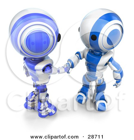 Clipart Illustration of Two Blue AO-Maru Robots Engaged in a Handshake by Leo Blanchette