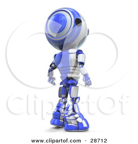 Clipart Illustration of a Suspicious Blue AO-Maru Robot Looking Back Over His Shoulder by Leo Blanchette