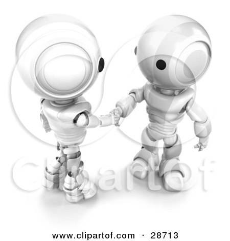 Clipart Illustration of Two White AO-Maru Robots Engaged in a Handshake by Leo Blanchette