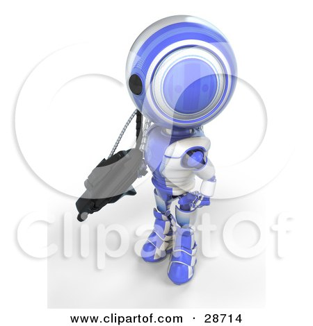 Clipart Illustration of a Blue AO-Maru Robot Protecting Territory With A Big Machine Gun by Leo Blanchette