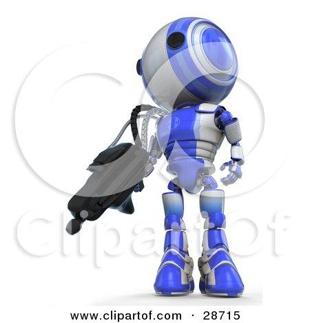 Blue AO-Maru Robot Defending Territory With A Big Machine Gun Posters, Art Prints