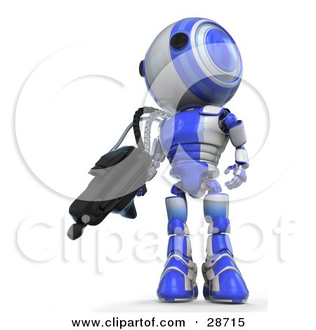 Clipart Illustration of a Blue AO-Maru Robot Defending Territory With A Big Machine Gun by Leo Blanchette