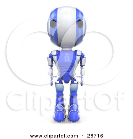 Clipart Illustration of a Blue AO-Maru Robot Standing Tall With His Arms At His Side, Facing Front by Leo Blanchette
