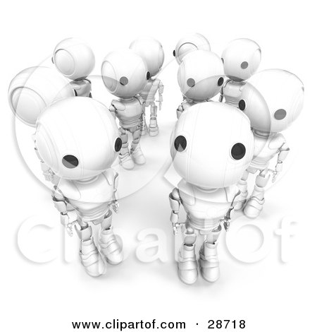 Clipart Illustration of a Group Of White AO-Maru Robots Standing In A Crowd, One Looking Up At The Viewer by Leo Blanchette