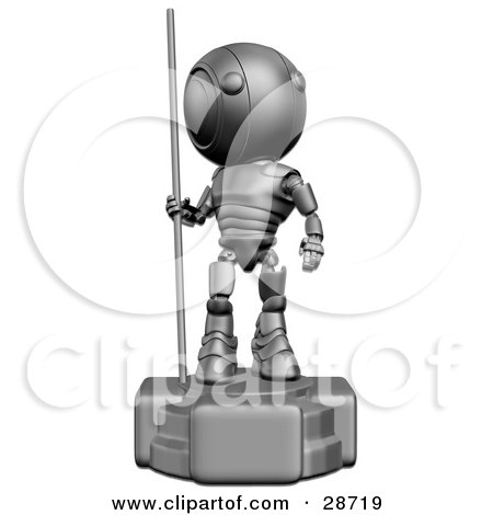 Clipart Illustration of a Silver AO-Maru Robot Statue With The Robot Looking Off To The Right by Leo Blanchette