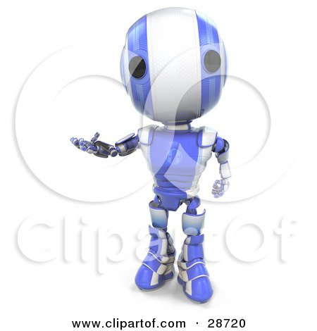 Clipart Illustration of a Friendly Blue AO-Maru Robot Holding One Hand Out While Gesturing by Leo Blanchette