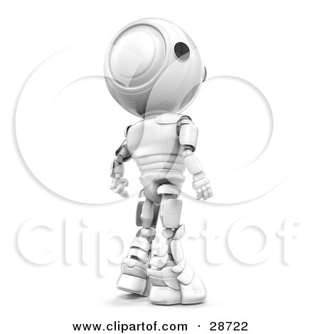 Clipart Illustration of a Suspicious White AO-Maru Robot Looking Back Over His Shoulder by Leo Blanchette