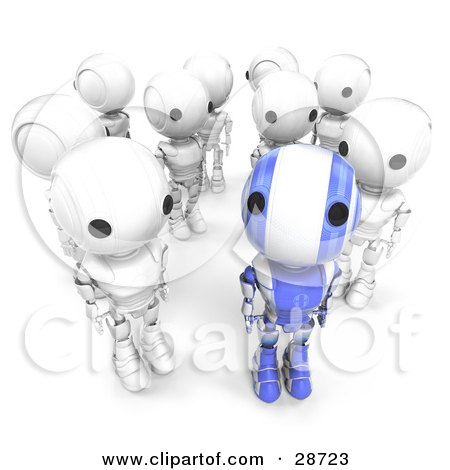 Clipart Illustration of a Unique Blue AO-Maru Robot Standing In Front Of A Group Of White Robots, Looking Up At The Viewer While The Others Look Off In Other Directions by Leo Blanchette