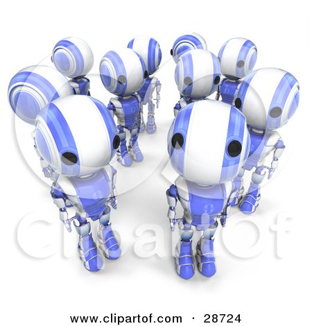 Clipart Illustration of a Blue AO-Maru Robots In A Group, One Looking Up At The Viewer While The Others Look In Different Directions by Leo Blanchette
