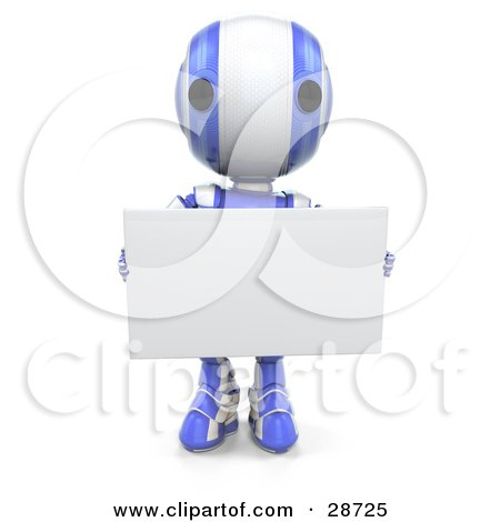 Clipart Illustration of a Blue AO-Maru Robot Facing Front And Holding A Blank White Advertising Board by Leo Blanchette