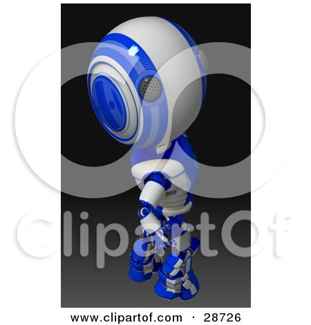 Clipart Illustration of a Blue AO-Maru Robot Looking Upwards Over His Shoulder At The Viewer, On A Gradient Black Background by Leo Blanchette