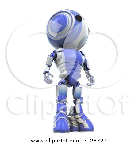 Clipart Illustration of a Tall Blue AO-Maru Robot Standing And Looking Off To The Right, View From Below by Leo Blanchette