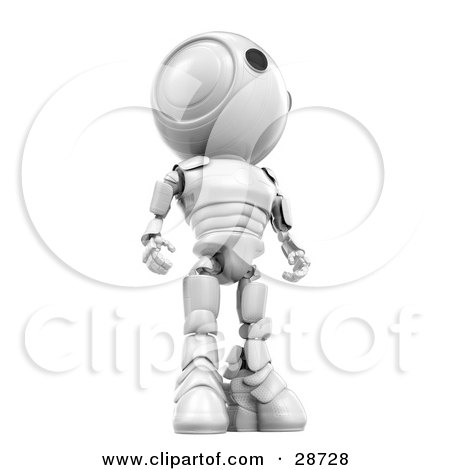 Clipart Illustration of a Tall White AO-Maru Robot Standing And Looking Off To The Right, View From Below by Leo Blanchette