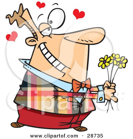 Clipart Illustration of a Sweet Caucasian Man Holding Yellow Flowers And Gazing At His Wife Or Girlfriend With Hearts Floating Above by toonaday