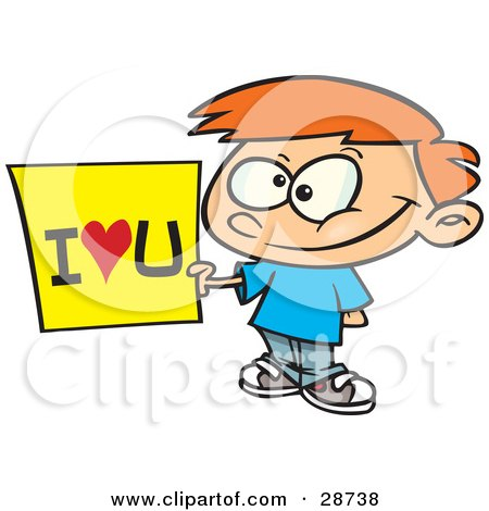 Clipart Illustration of a Sweet Little Red Haired Caucasian Boy Holding An I Love You Sign by toonaday