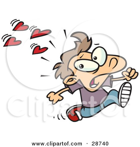 Clipart Illustration of a Scared Little Caucasian Boy Running Away From Girls At School That Have A Crush On Him, Hearts Behind Him by toonaday