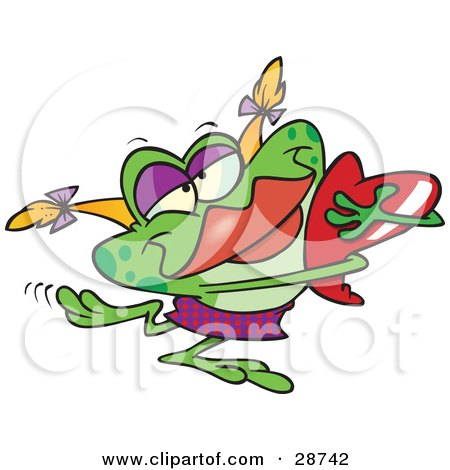 Clipart Illustration of a Green Female Frog With Blond Hair And Red Lips, Hugging A Red Heart by toonaday