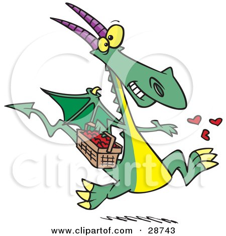 Clipart Illustration of a Happy Green Dragon In Love, Running With A Basket Full Of Hearts, Tossing Them Into The Air by toonaday