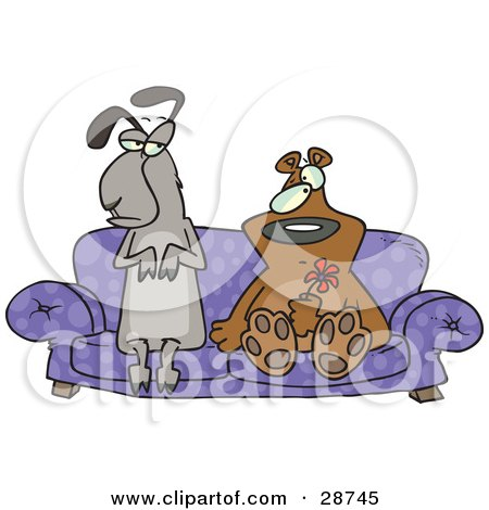 Clipart Illustration of a Weird Llama And Bear Couple Seated With Confused Expressions On A Purple Couch, The Bear Holding A Red Flower by toonaday