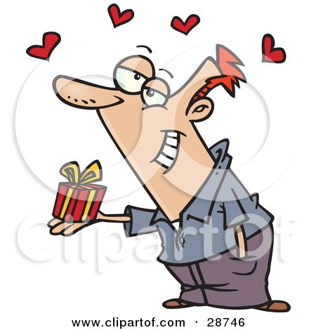 Clipart Illustration of a Sweet Caucasian Man Delivering A Tiny Gift To His Love, With Red Hearts Floating Above by toonaday