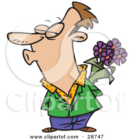 Clipart Illustration of a Sweet Caucasian Man Holding Purple Flowers Behind His Back And Puckered Up For A Kiss From His Wife Or Girlfriend by toonaday