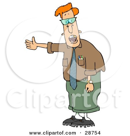 Clipart Illustration Of A Geeky Red Haired Man In Glasses Talking And Holding His Arm Out To The Left