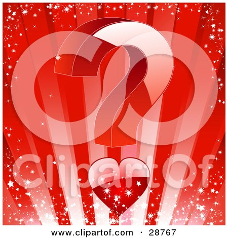 Clipart Illustration of a Big Red Question Mark With A Heart As The Lower Portion, Over A Sparkling Bursting Red Background With Stars by elaineitalia