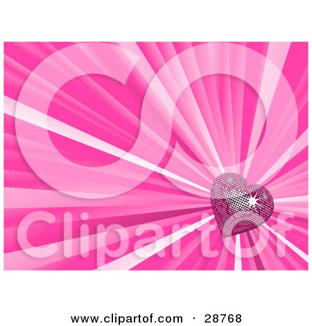 Clipart Illustration of a Sparkling Pink Disco Heart In The Lower Right Corner Of A Bursting Pink Background by elaineitalia