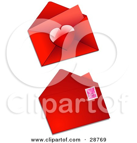 Clipart Illustration of The Front And Back Sides Of A Red Valentine Envelope With A Heart Sticker And A Pink Disco Heart Postage Stamp by elaineitalia