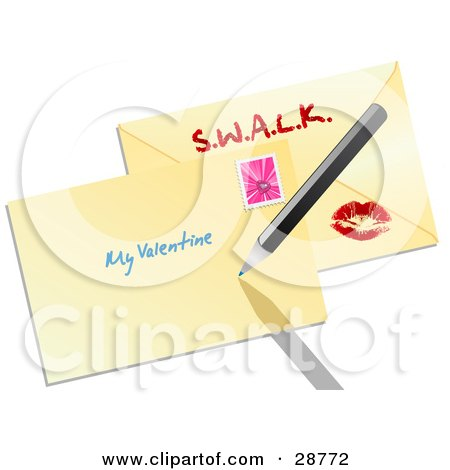 Clipart Illustration of The Front And Back Of An Envelope Sealed With A Lipstick Kiss And A Pink Heart Stamp by elaineitalia