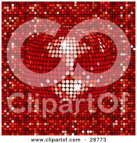 Clipart Illustration of a Sparkling Red Mirror Disco Ball Spinning Over A Mosaic Background by elaineitalia