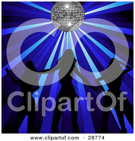 Clipart Illustration of Three Sexy Women Silhouetted In Black, Dancing Under A Sparkling Silver Disco Ball With Blue Spotlights by elaineitalia