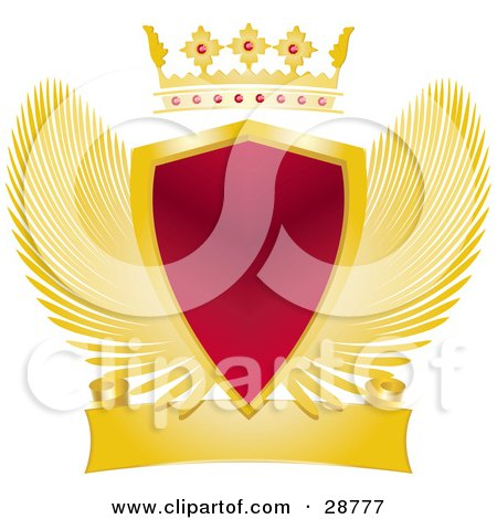 Clipart Illustration of a Gold Crown With Rubies Above A Heraldic Red Shield With Golden Wings And A Blank Scroll by elaineitalia