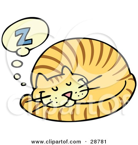 Clipart Illustration of a Striped Orange Cat Curled Up And Taking A Pleasant Nap by gnurf