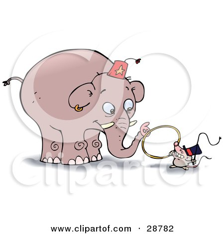 Clipart Illustration Of A Little Mouse Holding A Whip And A Tiny Hoop Instructing A Giant Elephant To Jump Through The Ring During A Circus Show