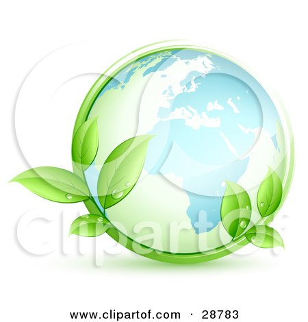 Clipart Illustration of The Blue Earth Embraced By Green Leafy Vines With Dew Drops by beboy