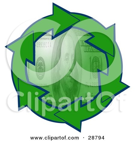 100 dollar bill clip art. Clipart Illustration of a