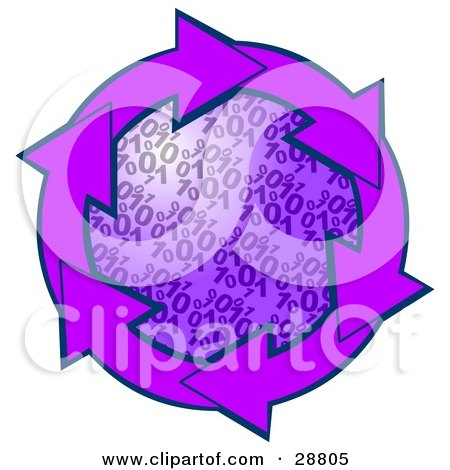 Clipart Illustration of a Circle Of Purple Arrows Around A Binary Coding Center by djart