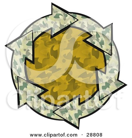 Clipart Illustration of a Circle Of Green Camouflage Arrows Around An Orange Camo Center by djart