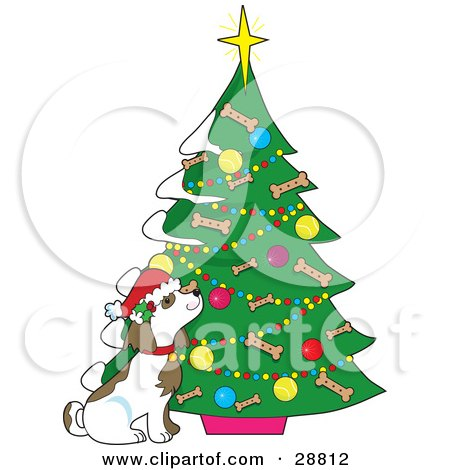 Clipart Illustration of a Cute Puppy Dog Wearing A Santa Hat And Sniffing A Christmas Tree Decorated With Ornaments And Dog Bone Biscuits by Maria Bell