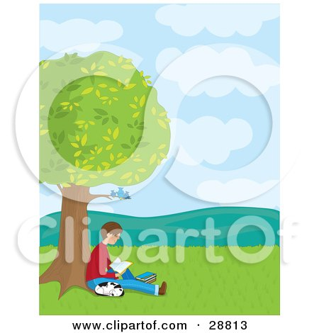 Clipart Illustration of a Teenage Boy Reading A Book Under Bluebirds In A Tree, His Dalmatian Puppy Curled Up And Sleeping Next To Him by Maria Bell