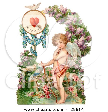 Clipart Picture of a Vintage Valentine Of Cupid Resting His Bow On The Ground In A Flower Garden Circa 1890 by OldPixels